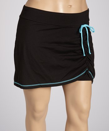 Black Soot Shirred Skort - Plus