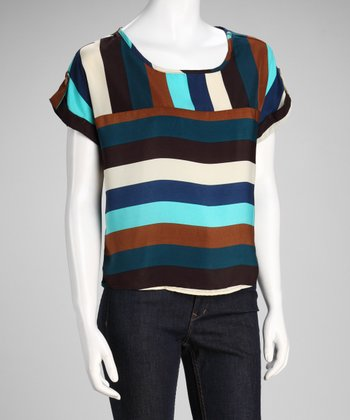 Blue & Brown Stripe Scoop Neck Short-Sleeve Top