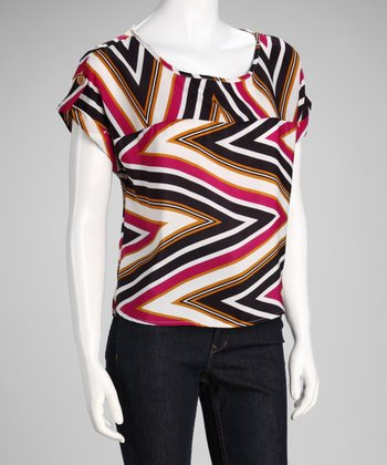 Fuchsia Zigzag Scoop Neck Short-Sleeve Top