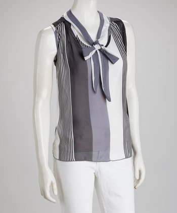 Black & Gray Sheer Stripe Tie-Neck Sleeveless Top