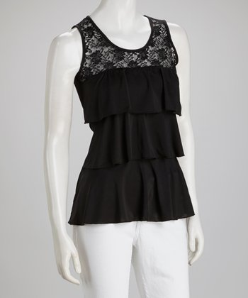 Black Lace Layered Tank