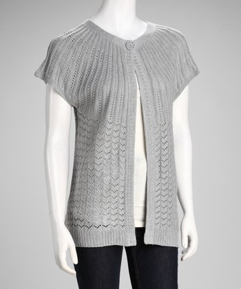 Silver Open Knit Single-Button Cardigan