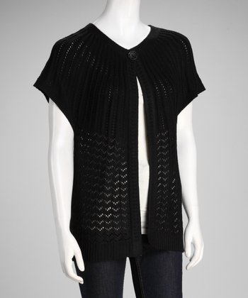 Black Open Knit Single-Button Cardigan
