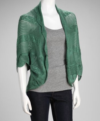 Green Crochet Open Cardigan