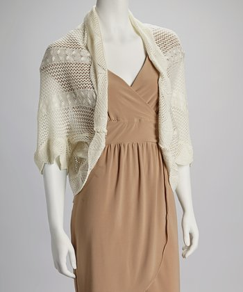 Ivory Crochet Open Cardigan