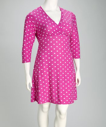 Fuchsia & White Polka Dot Surplice Dress - Plus