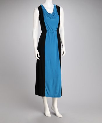 Black & Turquoise Color Block Drape Neck Midi Dress