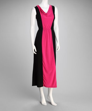 Fuchsia Color Block Drape Neck Midi Dress