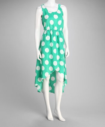 Green Polka Dot Sleeveless Hi-Low Dress