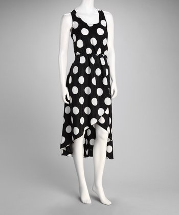 Black Polka Dot Sleeveless Hi-Low Dress