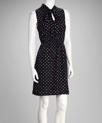 Red & Black Polka Dot Midi Dress
