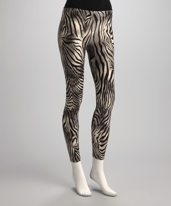 Black & Cream Zebra Leggings