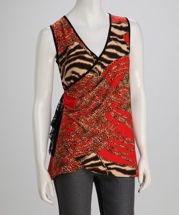jon & anna Red Safari Wrap Top
