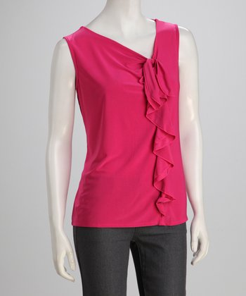 Fuchsia Ruffle Sleeveless Top