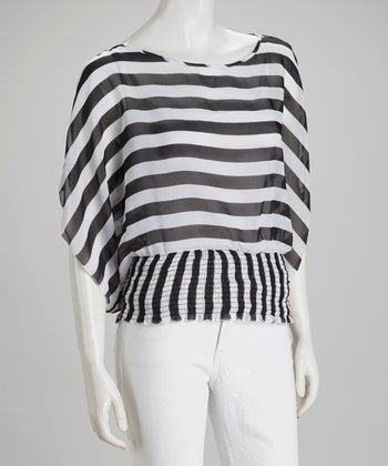 Black Stripe Cape-Sleeve Top