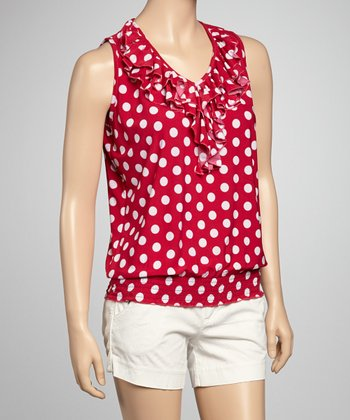 Fuchsia & White Polka Dot Sleeveless Top