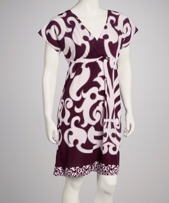 Purple V-Neck Short-Sleeve Dress
