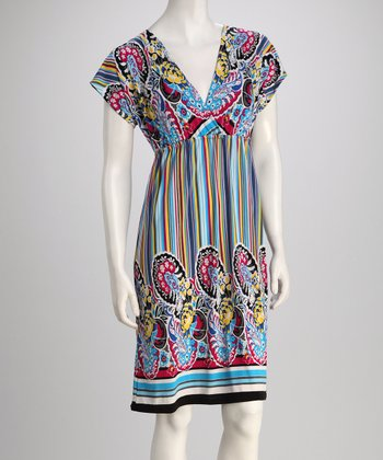 Aqua & Red Floral Stripe Surplice Dress