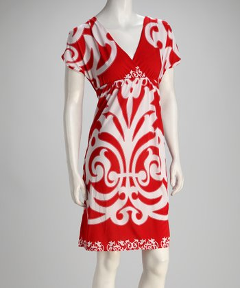 Red & White V-Neck Dress