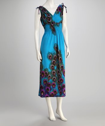 jon & anna Blue Tie Surplice Dress