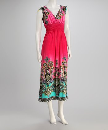 Fuchsia Tie Surplice Dress