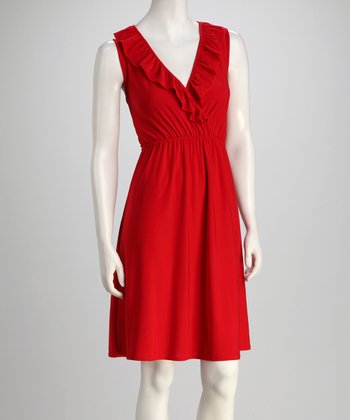 jon & anna Red Ruffle Surplice Dress