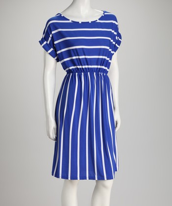 Blue Stripe Cape-Sleeve Dress