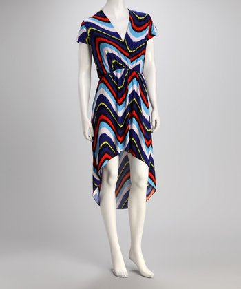 jon & anna Navy & Red Zigzag Hi-Low Dress