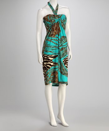 jon & anna Aqua Safari Bandeau Dress