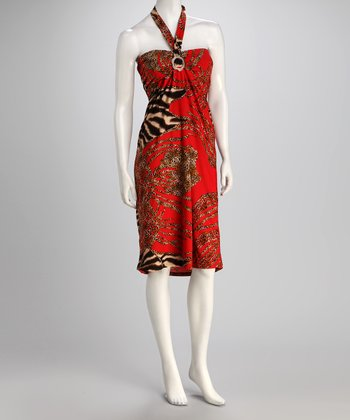 jon & anna Red Safari Bandeau Dress