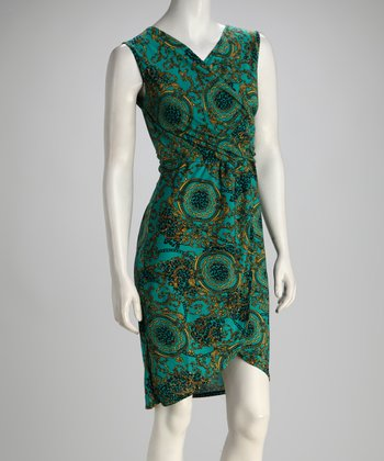 Teal & Yellow Status Wrap Dress
