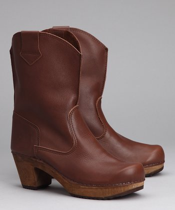 Brown Leather Cora Square Boot