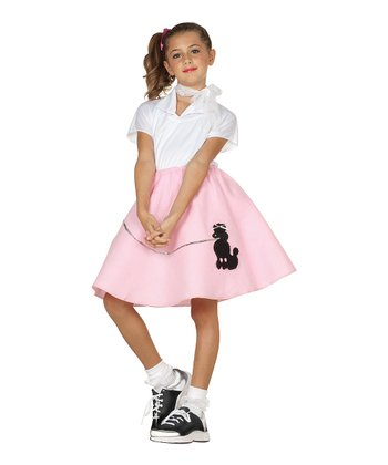White & Pink Sock-Hop Dress-Up Set - Girls