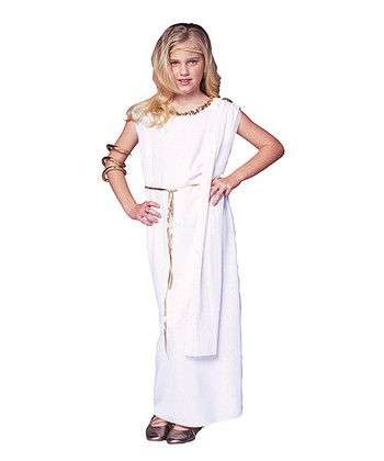 White Athena Toga Dress-Up Outfit - Girls