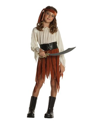 Rust & Ivory Pirate Dress-Up Outfit - Girls