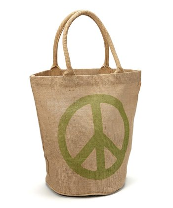 Sage Peace Jute Bucket Bag