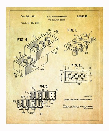 Lego Toy Building Brick 1961 Art Print