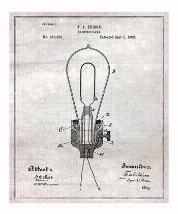 Edison Electric Lamp 1882 Art Print