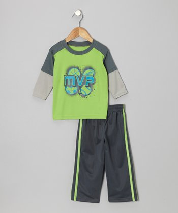 Light Green Layered Tee & Pants - Infant