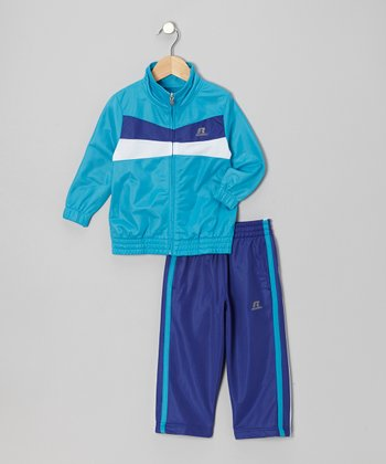 Turquoise Brushed Tricot Jacket & Pants - Toddler & Kids