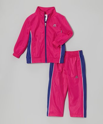 Pink & Purple Brushed Tricot Jacket & Pants - Toddler & Kids