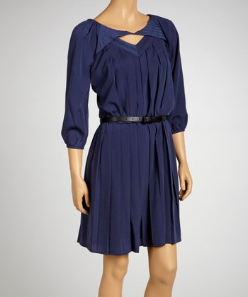 Blue Belted Accordion Dress