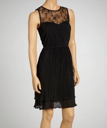 Black Lace-Neck Sleeveless Dress