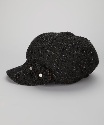 Black Metallic Double Flower Wool-Blend Newsboy Cap