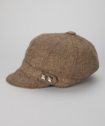Brown Embellished Wool-Blend Newsboy Cap