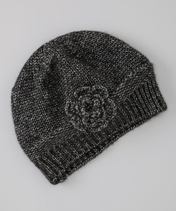 Black Flower Knit Wool-Blend Beanie