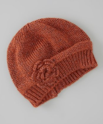 Orange Flower Knit Wool-Blend Beanie