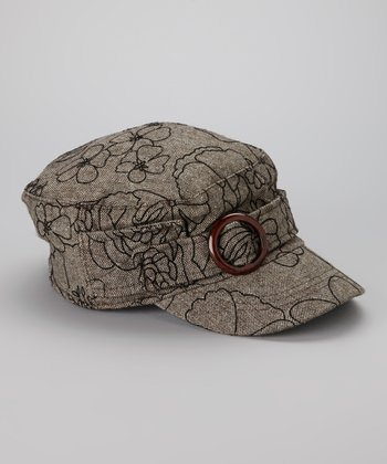 Brown Flower Wool-Blend Cadet Cap