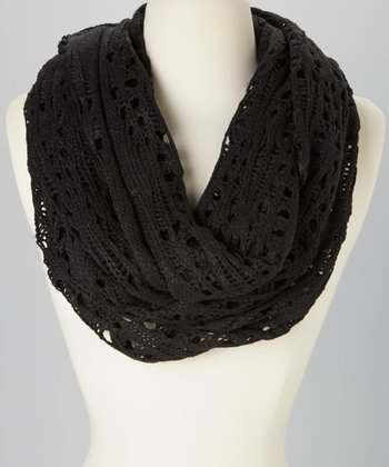 Black Open-Knit Infinity Scarf
