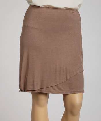 Brown Tulip Skirt - Plus